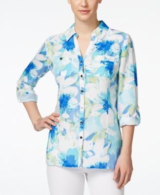 JM Collection Linen Floral-Print Shirt, Only at Vogily