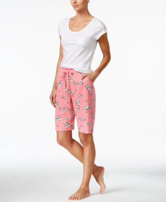 Hue Lace-Trim Pocket Top & Butterfly-Print Bermuda Pajama Shorts Sleep Separates