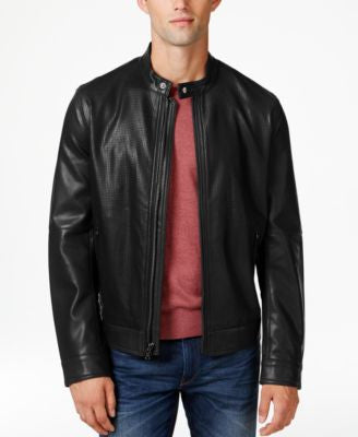 MICHAEL Michael Kors Men's Snap-Collar Faux Leather Bomber Jacket