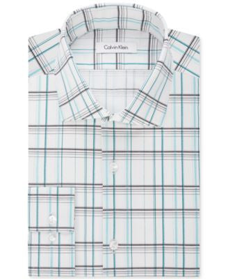 Calvin Klein Men's Fitted Infinite Stretch Wide-Check Dress Shirt