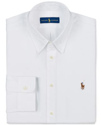 Polo Ralph Lauren Men's Slim-Fit White Solid Dress Shirt