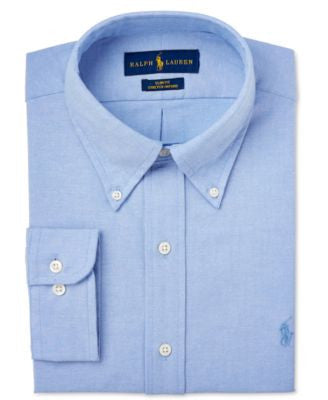 Polo Ralph Lauren Men's Slim-Fit Blue Solid Dress Shirt