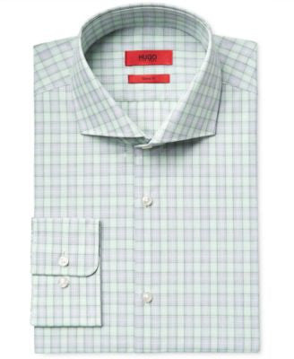 HUGO Men's Slim-Fit Green Check Dress Shirt