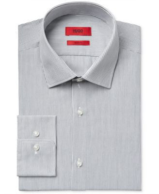 HUGO Men's Slim-Fit Grey Pinstripe Dress Shirt