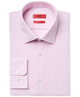 HUGO Men's Slim-Fit Pink Pinstripe Dress Shirt