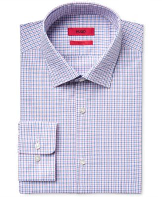 HUGO Men's Slim-Fit Pink Check Dress Shirt