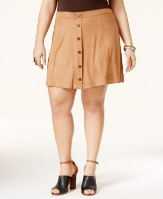 American Rag Trendy Plus Size Faux-Suede A-Line Skirt, Only at Vogily