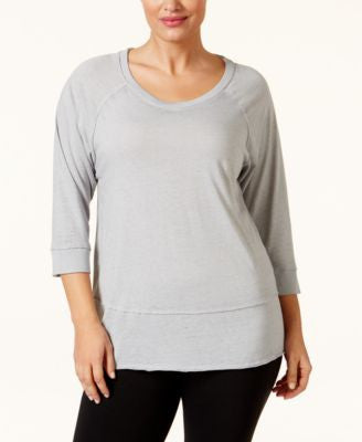 Calvin Klein Performance Plus Size Three-Quarter Sleeve T-Shirt