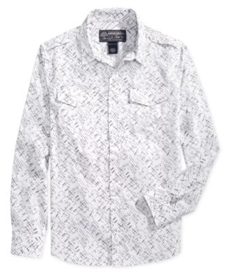 American Rag Men's Crosshatch-Print Long-Sleeve Shirt, Only at Vogily