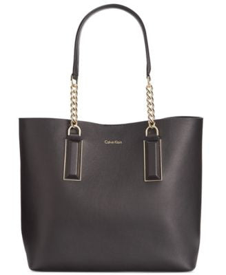 Calvin Klein Smooth Premium Leather Chain Tote