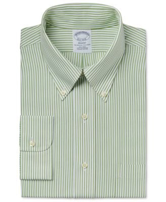 Brooks Brothers Men's Regent Classic-Fit Non-Iron Green Stripe Dress Shirt