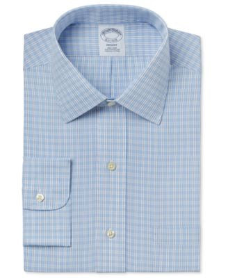 Brooks Brothers Men's Regent Classic-Fit Non-Iron Light Blue Plaid Dress Shirt