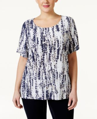 JM Collection Short-Sleeve Printed Jacquard Top. Only at Vogily