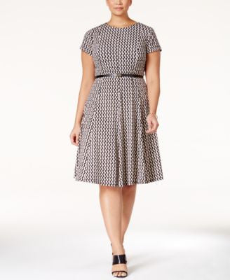 Jessica Howard Plus Size Printed Belted Fit & Flare Dress