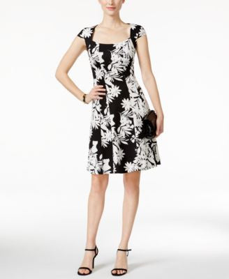 Style & Co. Cap-Sleeve Printed Fit & Flare Dress, Only at Vogily