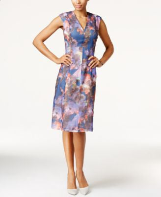 Anne Klein Textured Floral-Print Dress