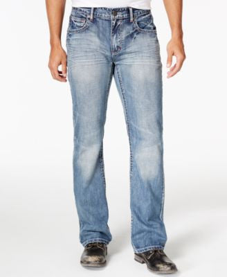 INC International Concepts Men's Lennix Boot-Cut Light Blue Wash Jeans, Only at Vogily