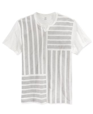 INC International Concepts Men's Pine Stripe Split T-Shirt, Only at Vogily