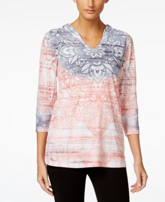 Style & Co. Petite Printed Burnout Pullover Hoodie, Only at Vogily