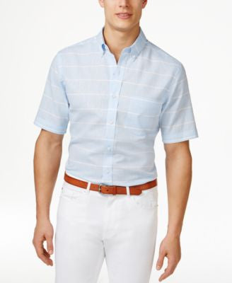 Club Room Men's Linen-Blend Striped Short-Sleeve Shirt, Only at Vogily