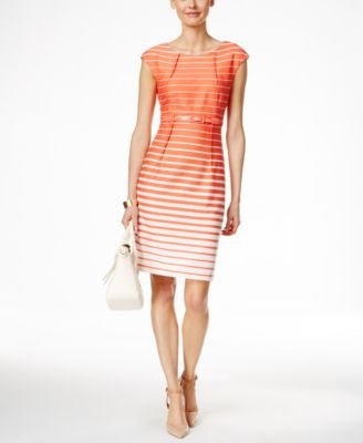 Connected Ombre Striped Sheath Dress