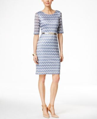 Connected Chevron-Print Lace Belted Sheath Dress