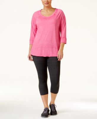 Calvin Klein Performance Plus Size Three-Quarter Sleeve Top & Capri Leggings