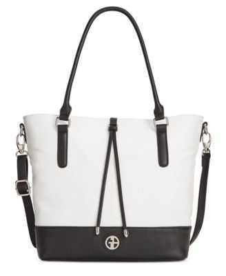 Giani Bernini Pebble Leather Magnetic Snap Colorblock Tote, Only at Vogily