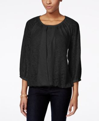Style & Co. Crochet-Trim Blouson Top, Only at Vogily
