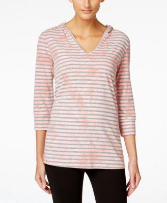 Style & Co. Petite Hooded Striped Top, Only at Vogily