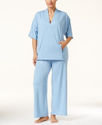 Nautica Plus Size Shawl-Collar Top & Solid Pajama Pants Sleep Separates
