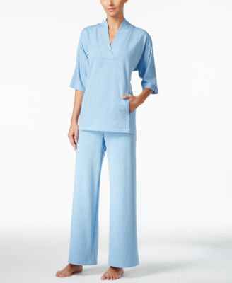Nautica Shawl-Collar Top & Solid Pajama Pants Sleep Separates