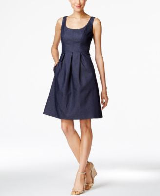 Nine West Denim Fit & Flare Dress