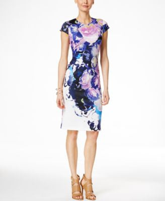Vince Camuto Cap-Sleeve Floral-Print Sheath Dress