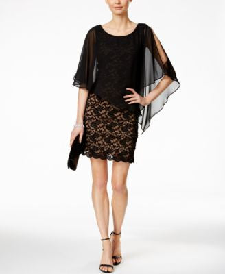 Connected Lace Chiffon Cape Dress