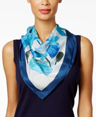 Echo Paper Poppies Silk Square Scarf