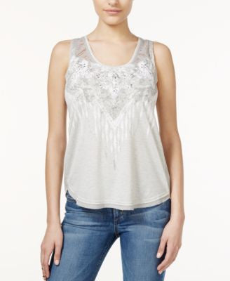 Miss Me Embellished Crochet-Inset Tank Top