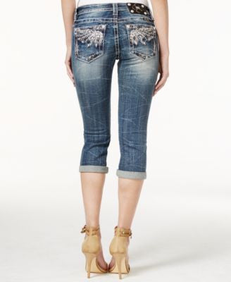 Miss Me Embellished Cropped Dark Blue Wash Jeans