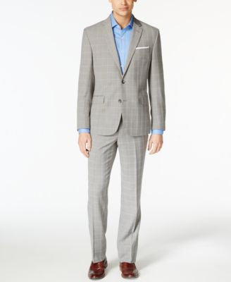 Kenneth Cole New York Men's Gray Plaid Slim-Fit Performance Wear Travel Suit