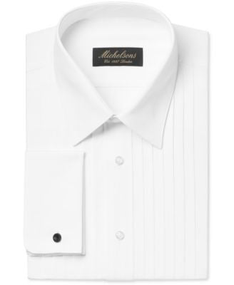 Michelsons Classic-Fit Pleated Point Collar Tuxedo Shirt with French Cuffs