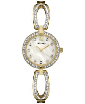 Bulova Women's Crystal Accent Gold-Tone Stainless Steel Bangle Bracelet Watch 26mm 98L225