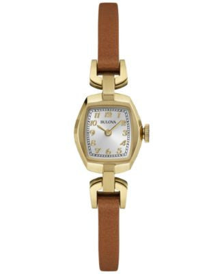 Bulova Women's Saddle Brown Leather Strap Watch 18mm 97L153