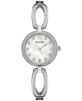 Bulova Women's Crystal Accent Stainless Steel Bangle Bracelet Watch 26mm 96L223