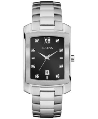 Bulova Men's Diamond Accent Stainless Steel Bracelet Watch 31mm 96D125