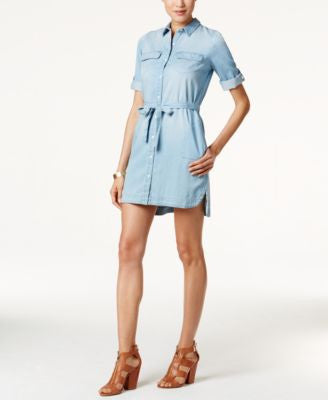 Calvin Klein Jeans Drawstring-Waist Denim Shirtdress
