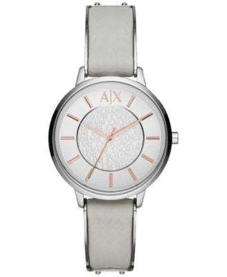 A|X Armani Exchange Women's Gray Leather Strap Watch 38mm AX5311