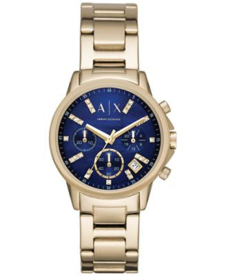 A|X Armani Exchange Women's Chronograph Gold-Tone Stainless Steel Bracelet Watch 36mm AX4332
