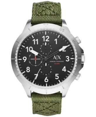 A|X Armani Exchange Men's Chronograph Green Nylon Strap Watch 50mm AX1759
