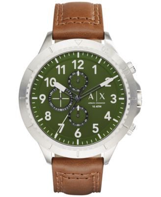 A|X Armani Exchange Men's Chronograph Dark Brown Leather Strap Watch 50mm AX1758