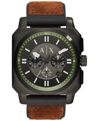 A|X Armani Exchange Men's Chronograph Black Silicone and Tan Suede Strap Watch 45mm AX1652